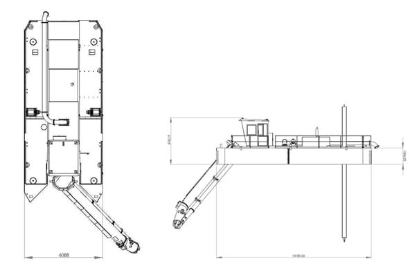 Compact Swing Cutter Dredger Linedrawing